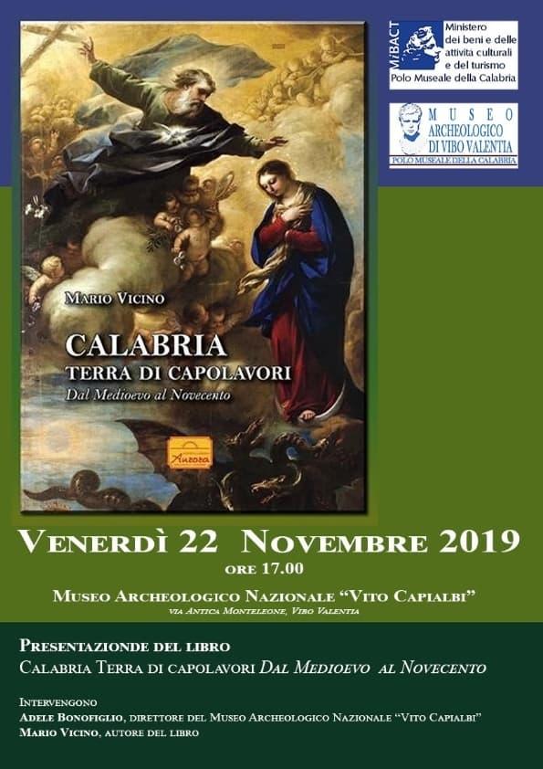 Presentazione volume Calabria terra di capolavori Dal Medioevo al Novecento 22 novembre 2019 a Vibo Valentia locandina