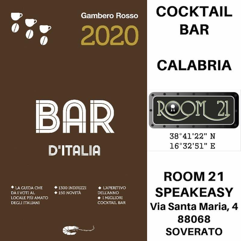 ROOM 21 GUIDA GAMBERO ROSSO COCKTAIL BAR CALABRIA