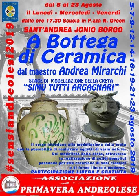A Bottega di Ceramica dal 5 al 23 Agosto 2019 a Sant'Andrea Jonio Borgo locandina