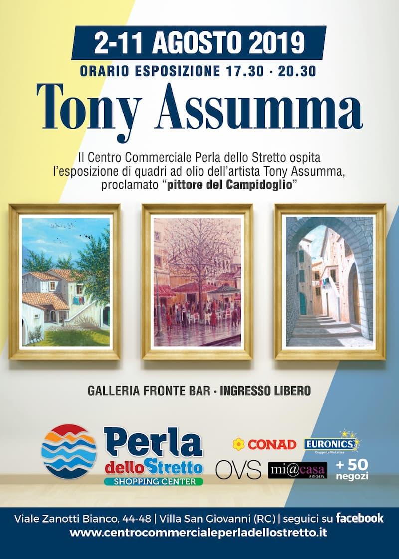 Alla Perla dello Stretto la mostra di quadri dell'artista Tony Assumma dal 2 al 11 agosto 2019 locandina