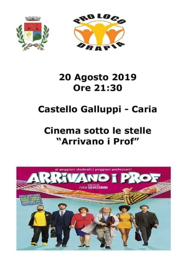 Cinema sotto le stelle Martedì 20 Agosto 2019 Castello Galluppi, Caria di Drapia locandina