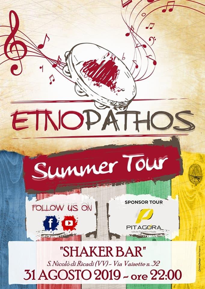 Etno Pathos Live - Shaker Bar 31 Agosto 2019 a San Nicolo di Ricadi locandina