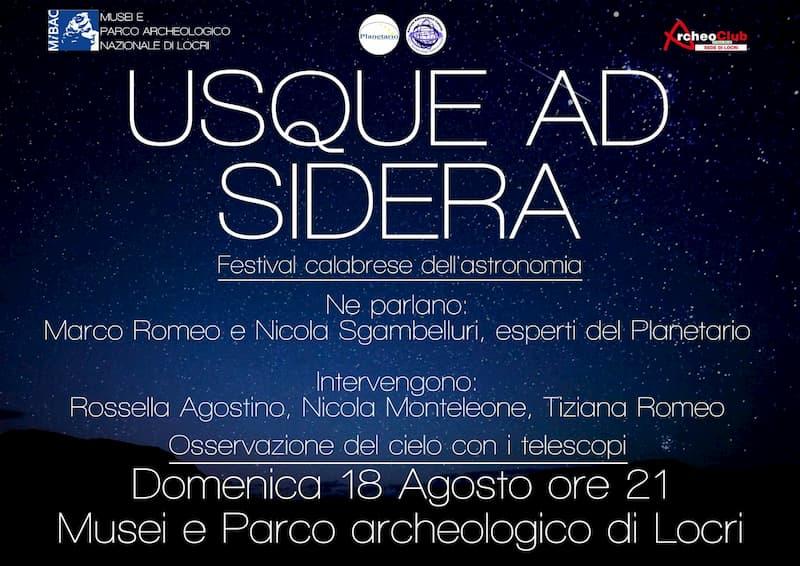 Festival calabrese dell'astronomia 18 Agosto 2019 a Locri locandina