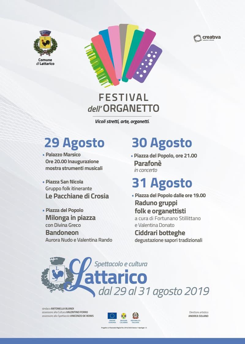 Festival dell'Organetto Agosto 2019 a Lattarico locandina