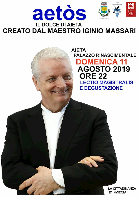 Il Maestro Iginio Massari ad Aieta 11 Agosto 2019 locandina