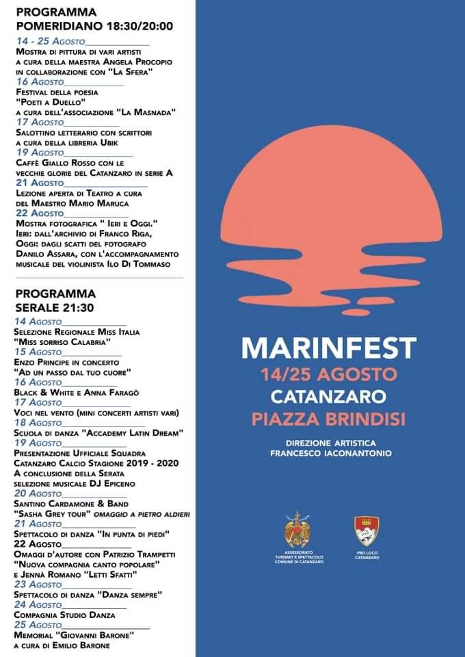 MarinFest a Catanzaro 14 25 Agosto 2019 locandina