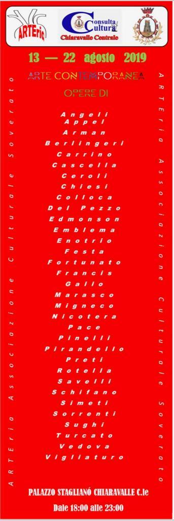 Mostra d'Arte Contemporanea 2019 Chiaravalle Centrale locandina