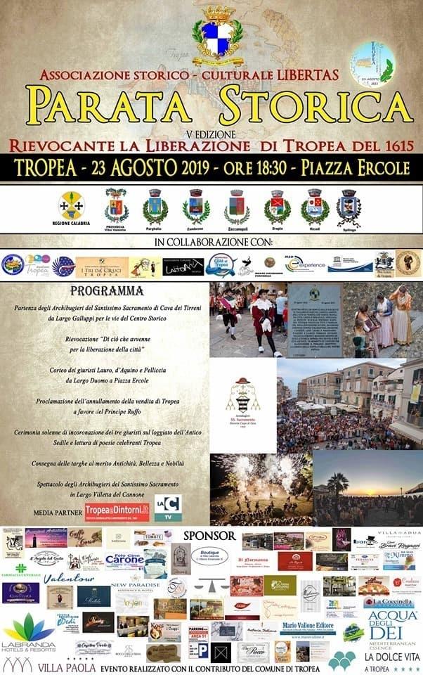 Parata Storica rievocante la Liberazione di Tropea 1615 23 Agosto 2019 a Tropea locandina
