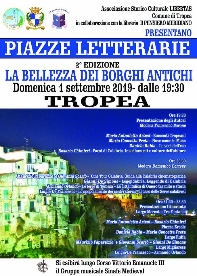 Piazze Letterarie 1 settembre 2019 a Tropea locandina