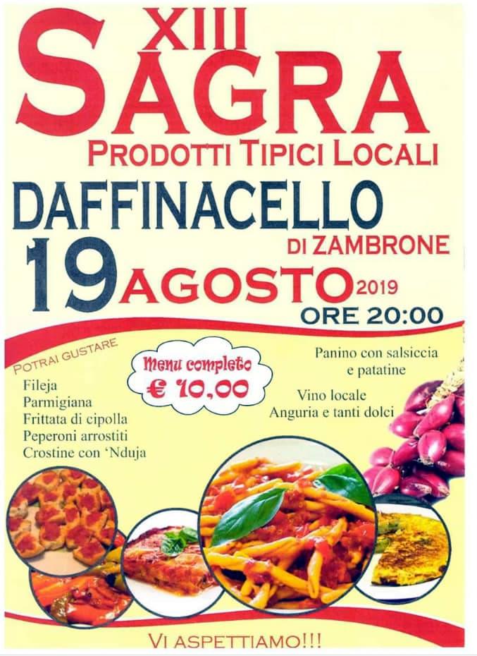 Sagra dei prodotti tipici locali 19 Agosto 2019 a Daffinacello di Zambrone locandina
