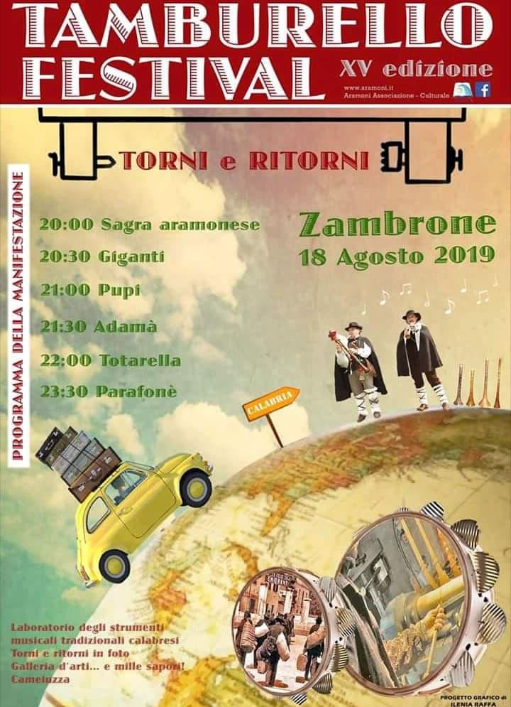 Tamburello Festival 18 agosto 2019 a Zambrone locandina