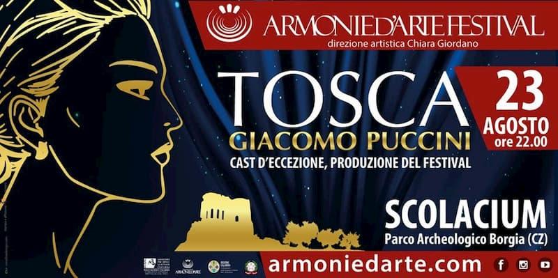 Tosca di Giacomo Puccini Armonie d'Arte Festival 23 Agosto 2019 a Borgia locandina