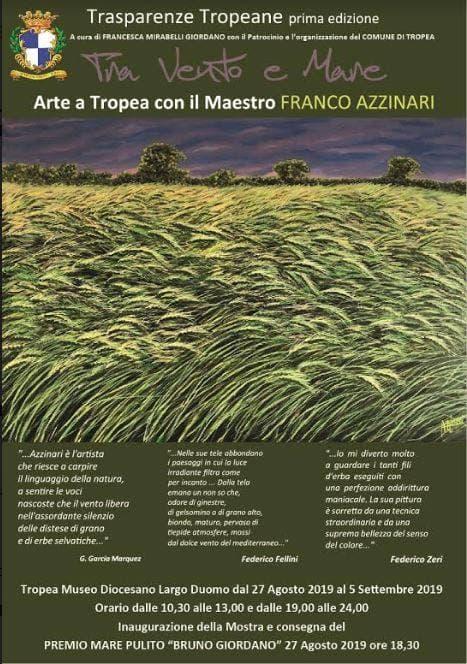 Tra Vento e Mare, Arte a Tropea con il maestro Franco Azzinari 27 agosto al 5 settembre 2019 locandina