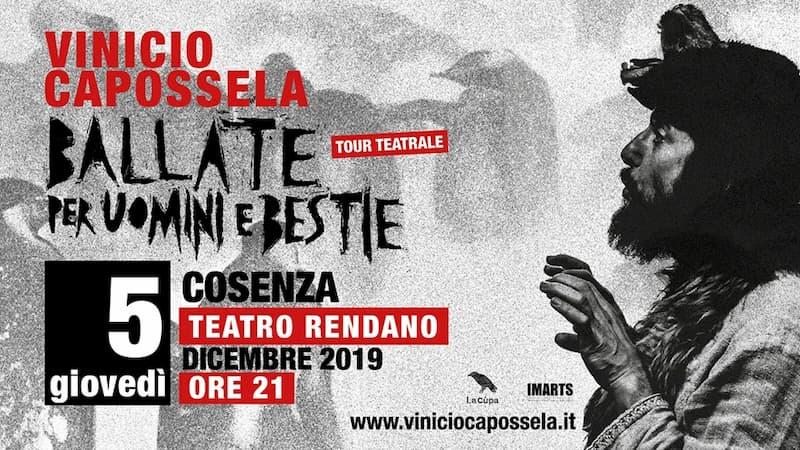 Vinicio Capossela • Teatro Rendano, Cosenza 5 dicembre 2019 locandina
