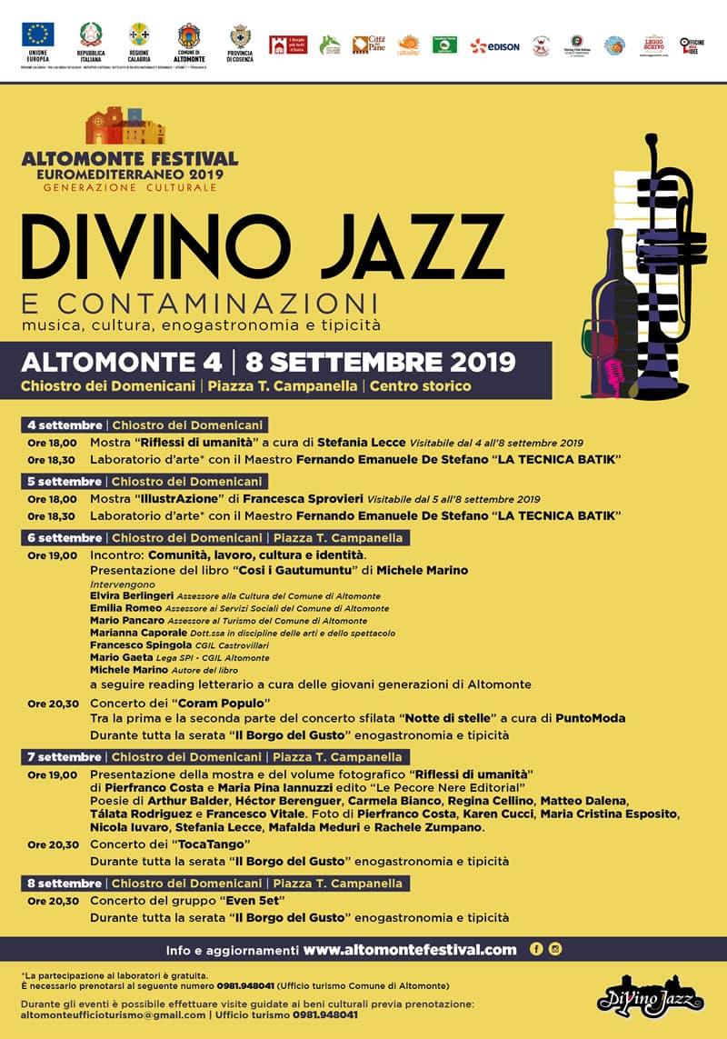 Festival Euromediterraneo Altomonte 2019 - Divino Jazz 2019 resoconto locandina