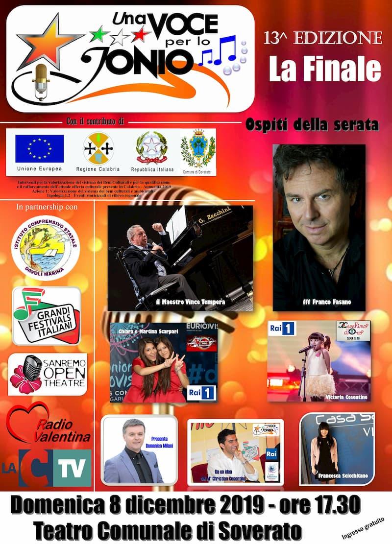 Festival Una Voce per lo Jonio 8 Dicembre 2019 a Soverato locandina