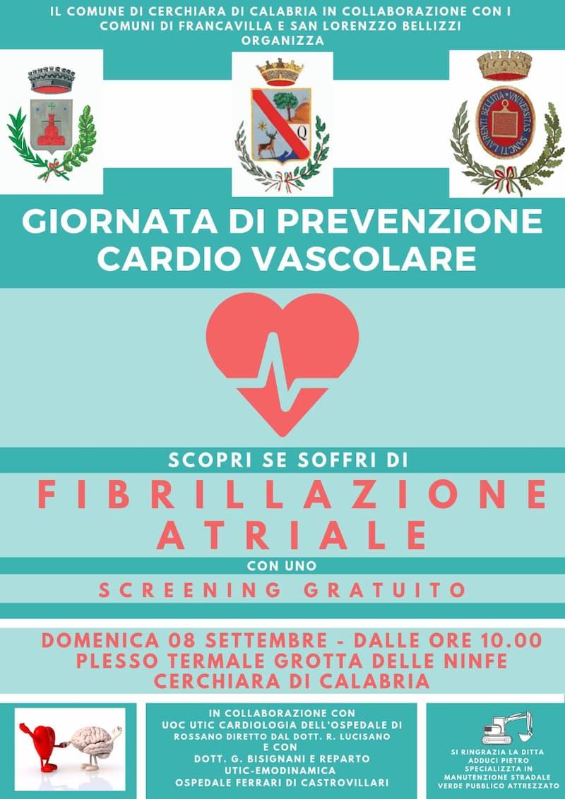 Giornata di prevenzione Cardiovascolare 8 settembre 2019 a Cerchiara di Calabria locandina