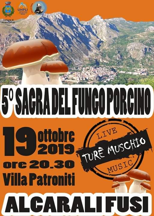 5° Sagra del fungo porcino dei Nebrodi 19 Ottobre 2019 ad Alcara Li Fusi locandina