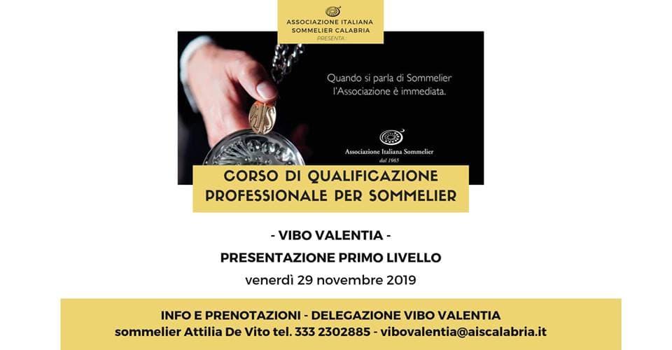 Corso sommelier 1° livello - Vibo Valentia 29 Novembre 2019 locandina