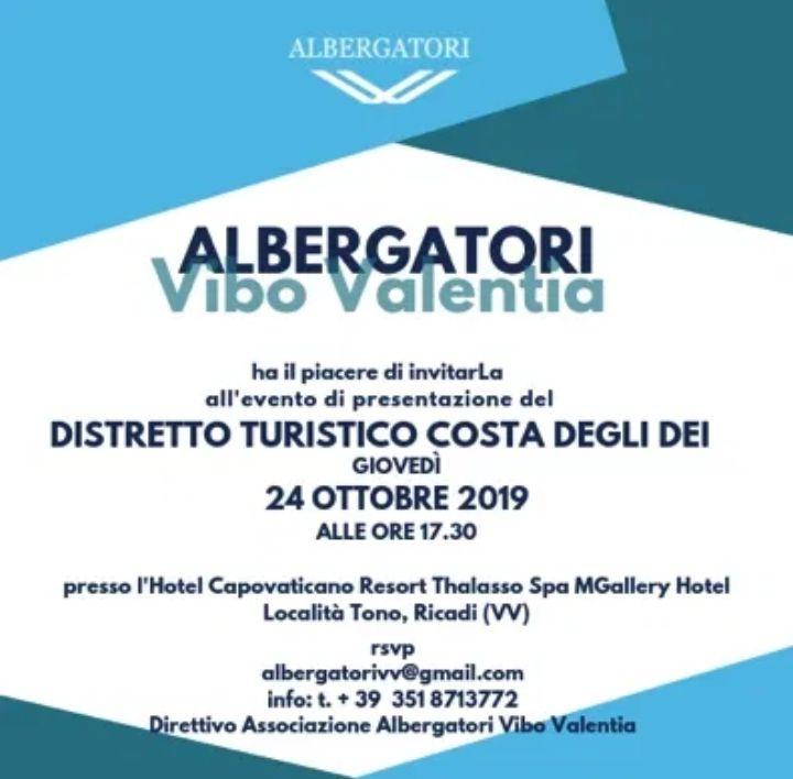 Distretto Turistico Costa degli Dei 24 Ottobre 2019 a Ricadi locandina