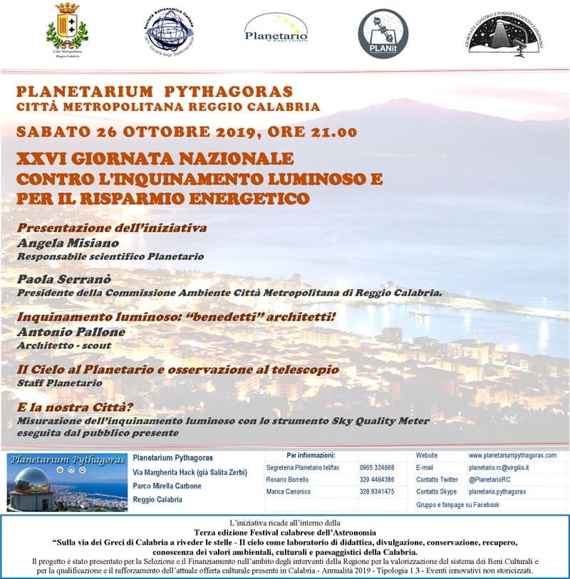 Giornata dedicata all'inquinamento luminoso 26 Ottobre 2019 a Reggio Calabria locandina