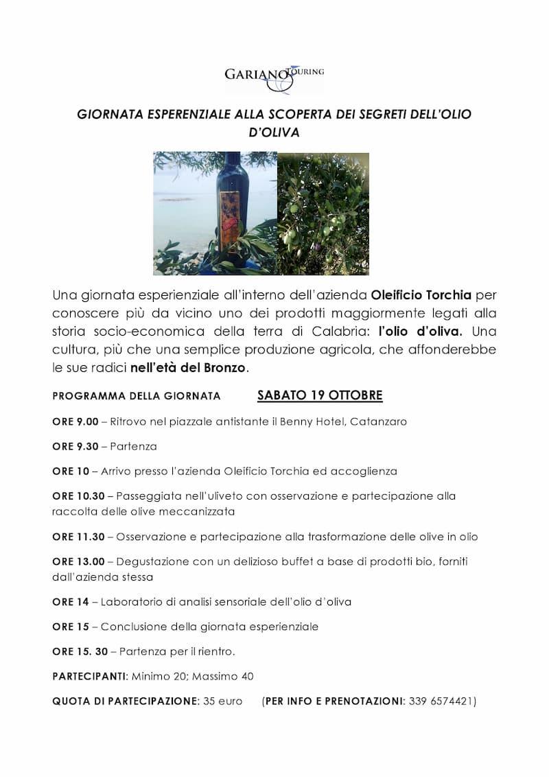 Giornata esperenziale alla scoperata dei segreti dell'Olio d'Oliva 19 Ottobre 2019
