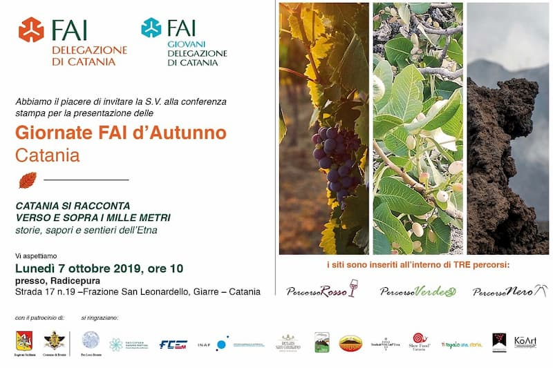 Giornate FAI d'autunno in Sicilia 7 ottobre 2019 presso parco botanico Radicepura a Giarre locandina