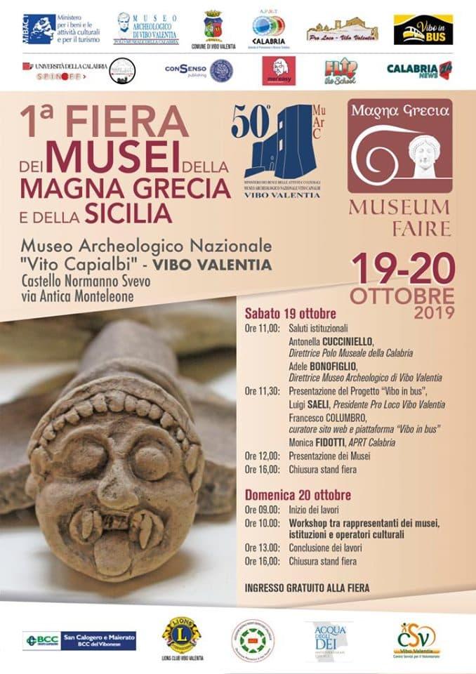 I Fiera dei Musei della Magna Grecia e della Sicilia 19 Ottobrre 2019 a Vibo Valentia locandina
