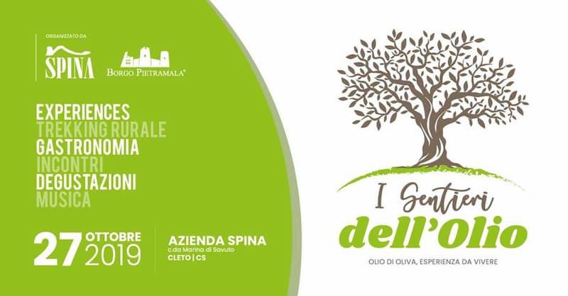 I Sentieri dell'Olio - olio di oliva, esperienza da vivere 27 Ottobre 2019 a Cleto locandina