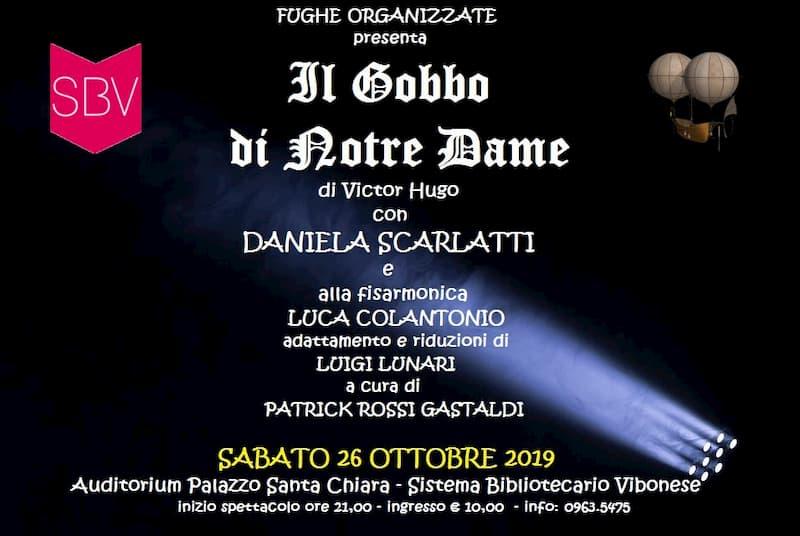 Il Gobbo di Notre Dame di Victor Hugo 26 Ottobre 2019 a Vibo Valentia locandina