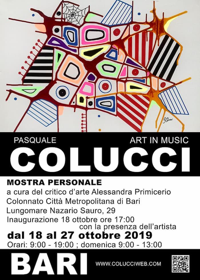 Mostra personale di Pasquale Colucci dal 18 al 27 Ottobre2019 a Bari locandina