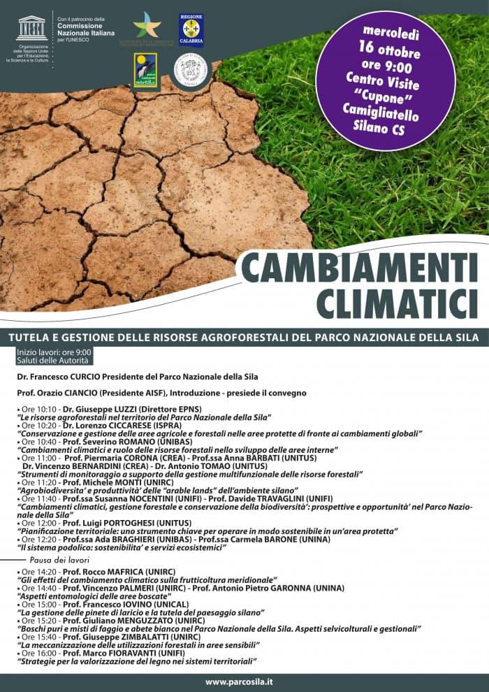 Sila convegno ambiamenti climatici 16 ottobre 2019 a Camigliatello Silano ocandina