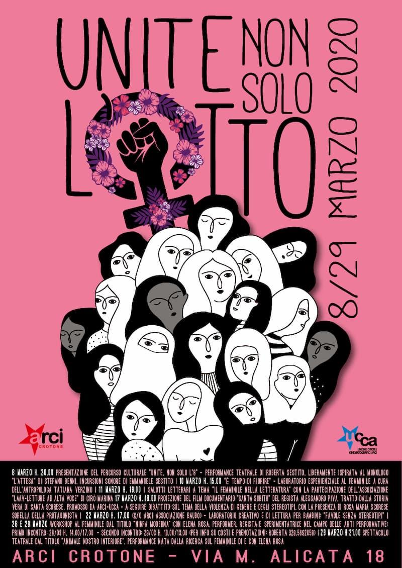 Unite, non solo l'otto - percorsi culturali - Arci Crotone dall'8 al 29 Marzo 2020 locandina