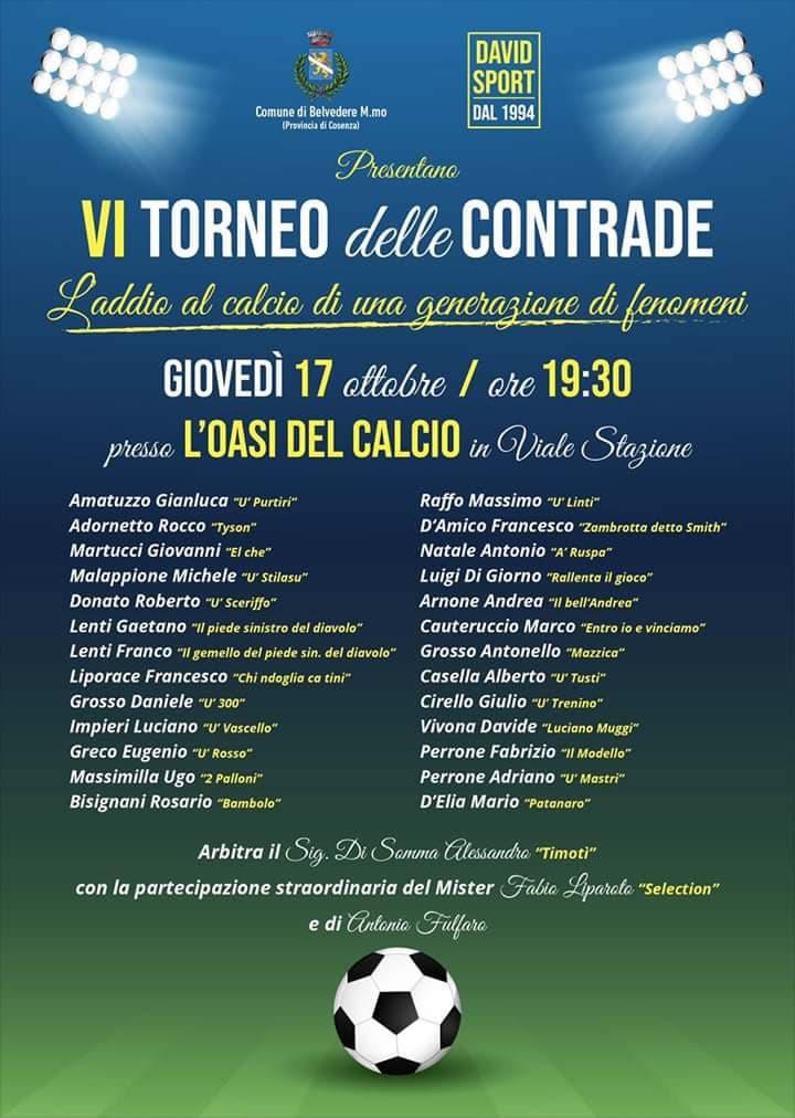 VI Torneo delle Contrade 17 ottobre 2019 a Belvedere Marittimo locandina