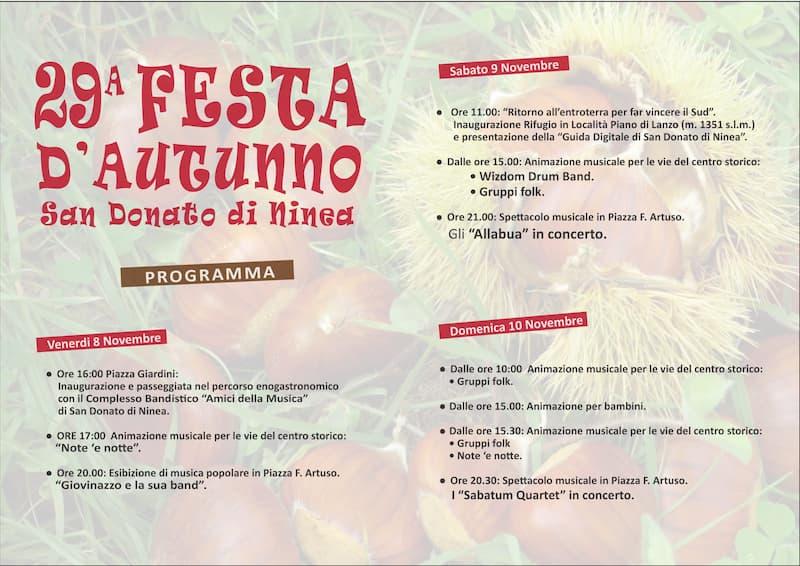 29° Festa Autunno a San Donato di Ninea Novembre 2019 locandina fronte