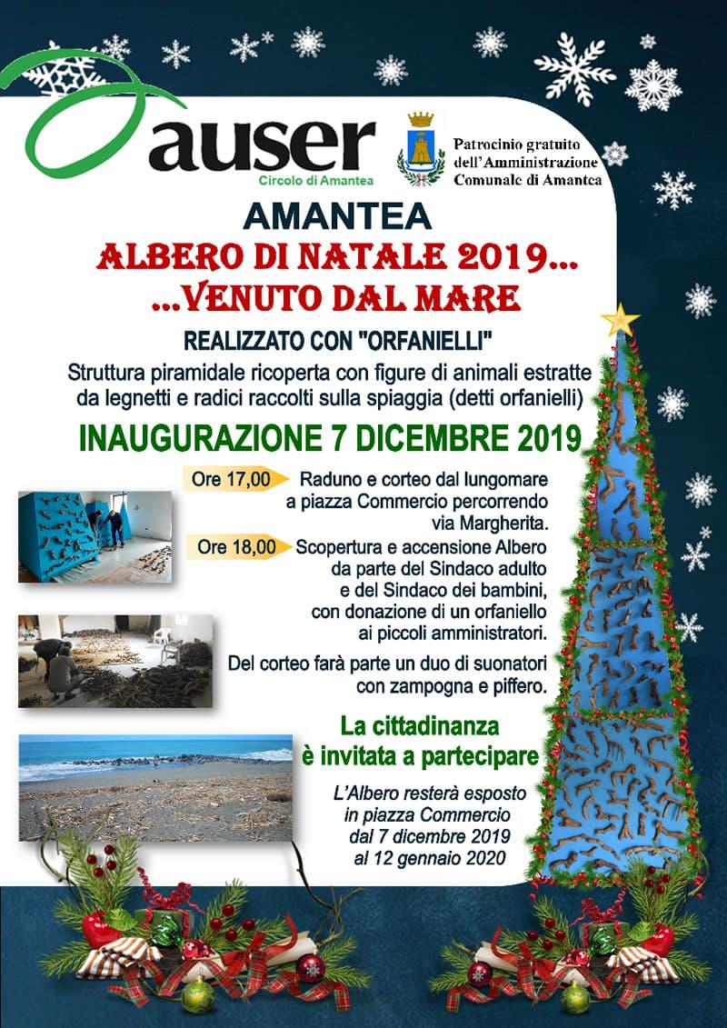 Amantea, Albero di Natale 2019 con orfanielli 7 dicembre 2019 locandina