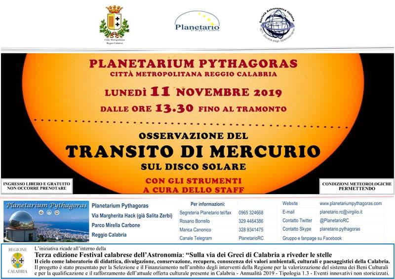 Festival Calabrese dell'Astronomia - transito di Mercurio sul disco solare 11 Novembre 2019 a Reggio Calabria