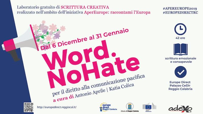 Laboratorio gratuito di scrittura creativa Word. No Hate per mail_comunicato1