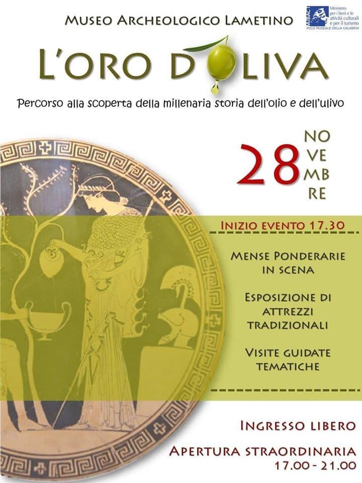 L'oro d'Oliva 28 novembre 2019 a Lamezia Terme locandina