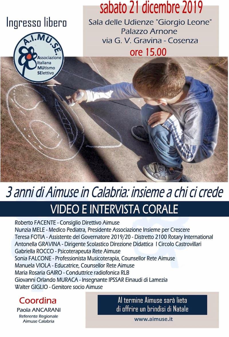 3 anni di Aimuse in Calabria 21 dicembre 2019 a Cosenza locandina