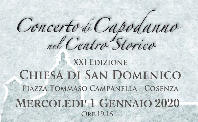 Concerto di Capodanno nel Centro Storico 1 Gennaio 2020 a Cosenza locandina