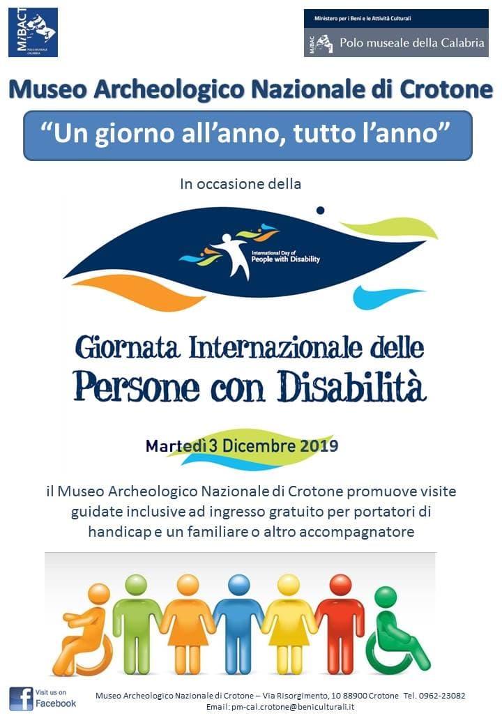 Giornata Internazionale dei diritti delle persone con disabilità 3 dicembre 2019 Locandina - Crotone
