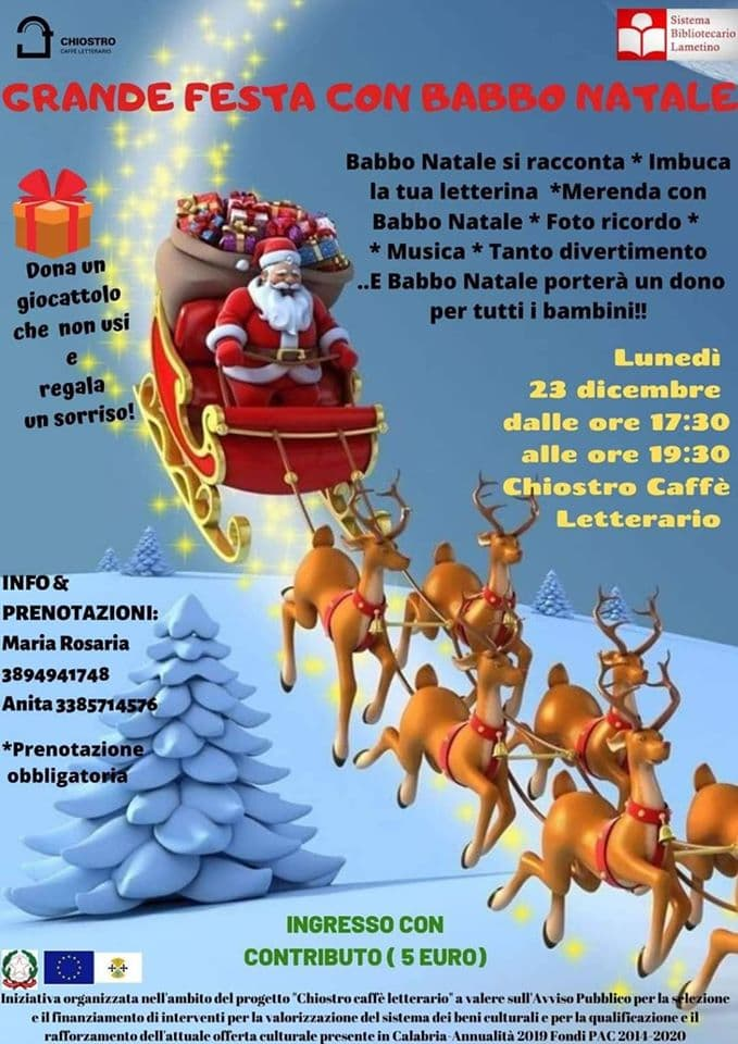 Grande festa con Babbo Natale 23 Dicembre 2019 a Lamezia Terme locandina