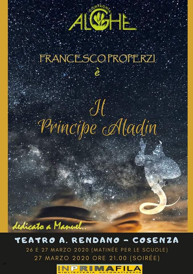 Il principe Aladin 27 Marzo 2020 a Cosenza locandina