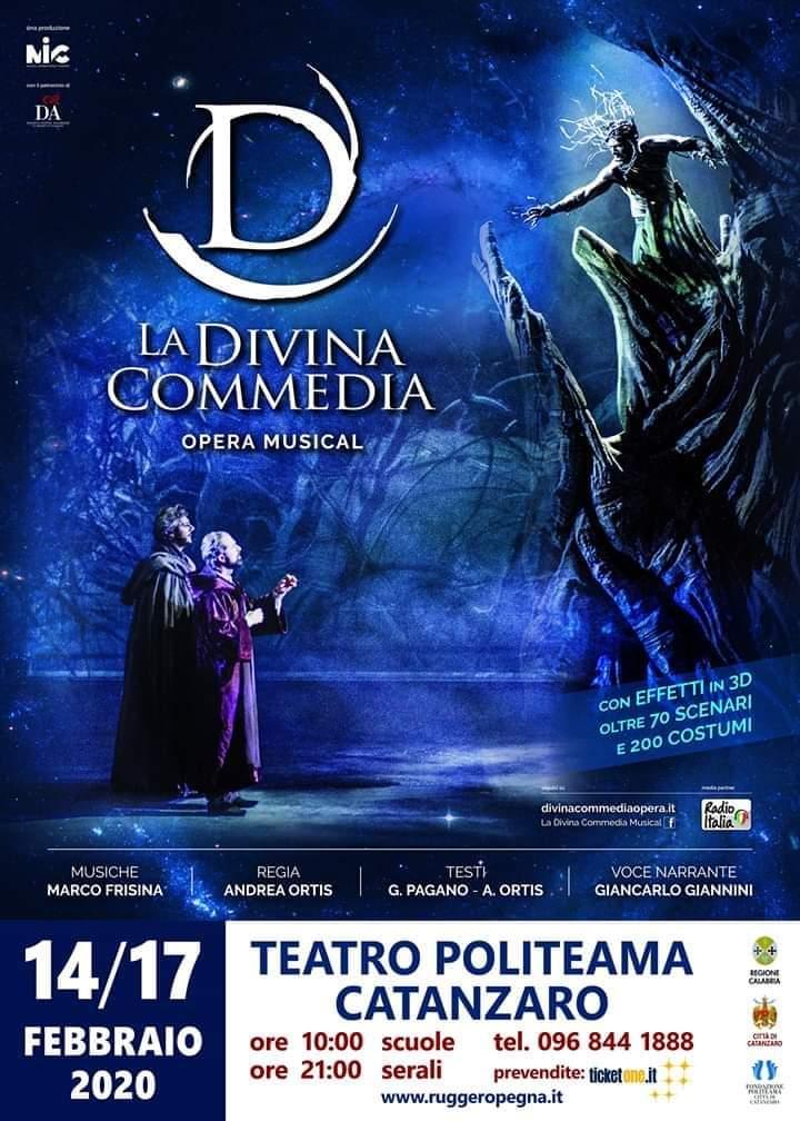 La Divina Commedia dal 14 al 17 Febbraio 2020 a Catanzaro locandina