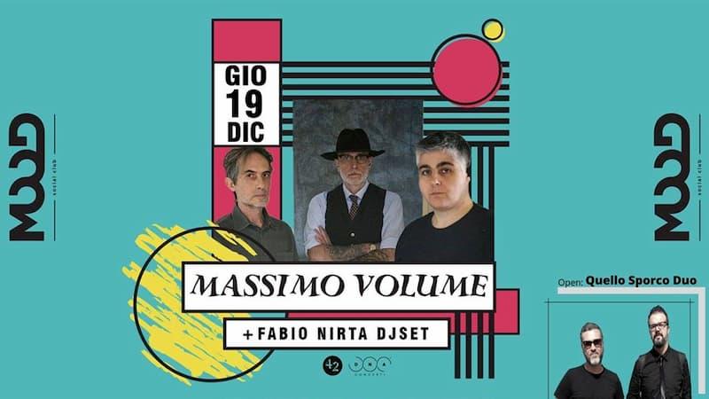 Massimo Volume live con Fabio Nirta Dj Set al Mood di Rende 19 Dicembre 2019 locandina