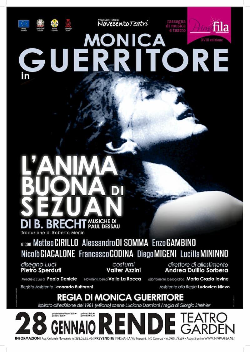 Monica Guerritore in L'anima buona di Sezuan al teatro Garden Rende 28 Gennaio 2020 locandina