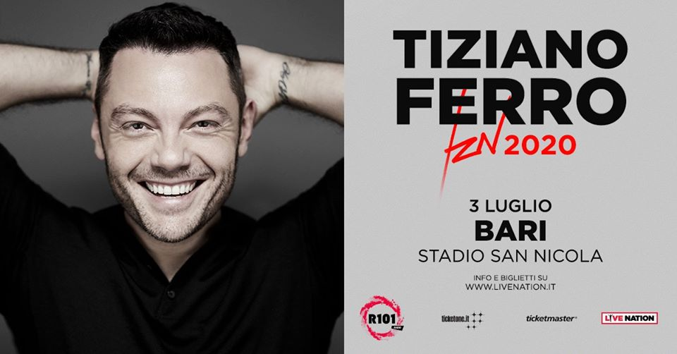 Tiziano Ferro a Bari 3 luglio 2020 locandina