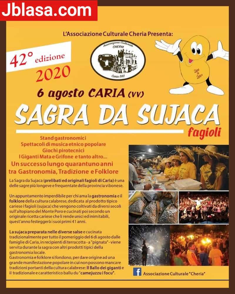 42° edizione Sagra da Sujaca Caria di Drapia Vibo Valentia 6 agosto 2020