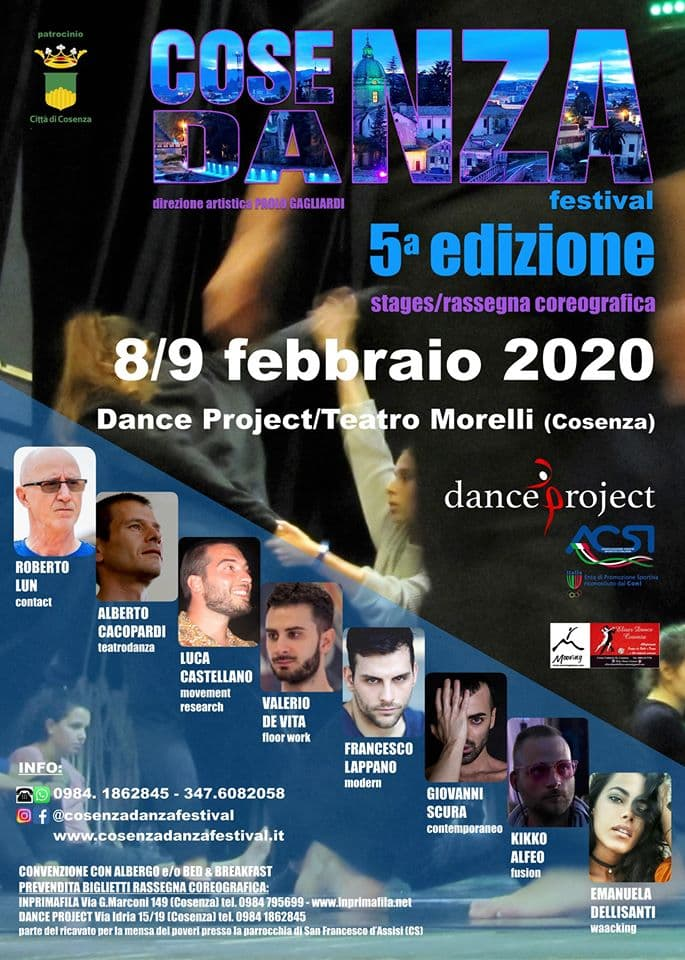 Cosenza Danza Festival 5ª edizione 8 e 9 Febbraio 2020 locandina